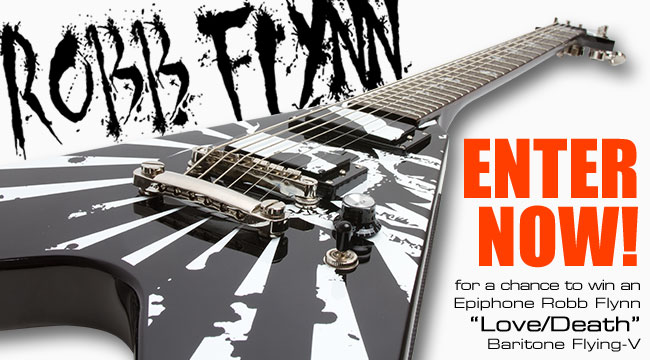 Epiphone July Guitar Giveaway - Robb Flynn Love/Death Baritone Flying-V