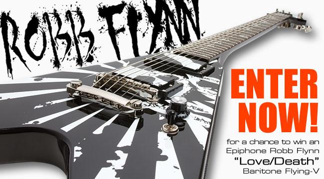 Epiphone July Guitar Giveaway - Robb Flynn Love/Death Baritone Flying-V