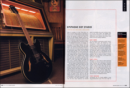 guitar player magazine reviews the epiphone dot studio. Black Bedroom Furniture Sets. Home Design Ideas