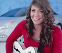 Jessica Frech and her Epiphone Emperor Swingster Royale in 2012 Hyndai Commercial