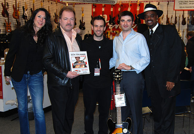 Cara Hogan (Epiphone), Marty Kloska (Sam Ash), Chris Insidioso (Sam Ash), Matt Kulinski (Sam Ash) and Nick Colionne at the Lombard store.