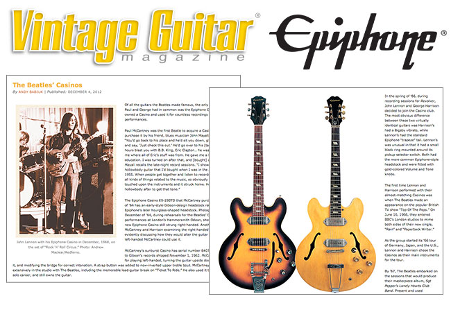 Vintage Guitar Takes A look At The Beatles' Casinos