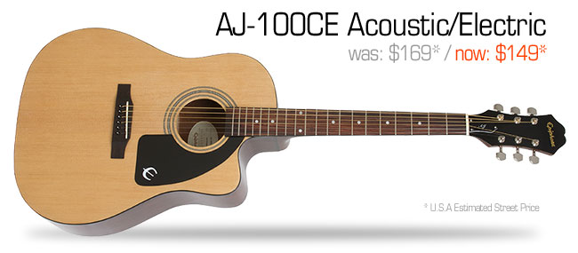 Epiphone AJ-100CE Acoustic/Electric: was $169, now $149