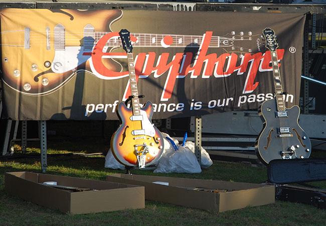 Epiphone guitars on display backstage