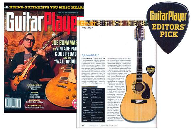 Guitar Player Gives Epiphone DR-212 Editor's Pick Award!