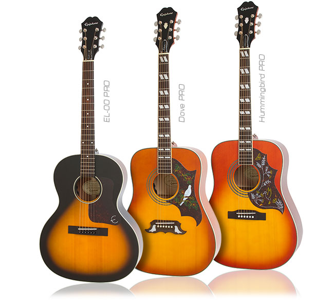 Epiphone Hummingbird, The Dove, and the EL-00 Acoustic/Electric PROs