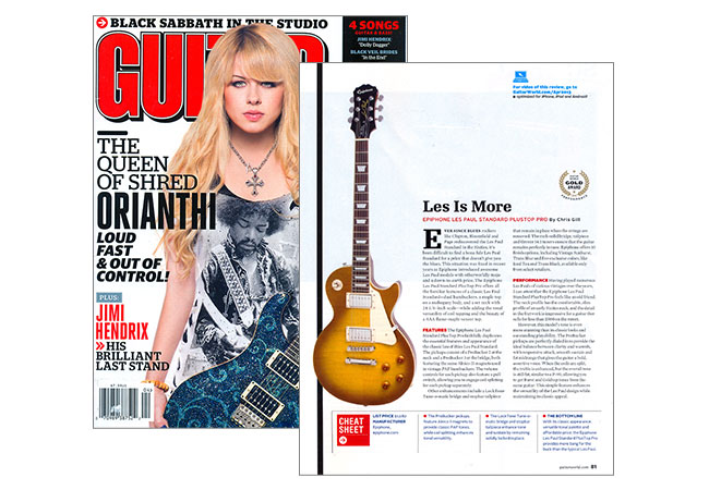 Epiphone Les Paul Standard PlusTop PRO Receives Guitar World Gold Award