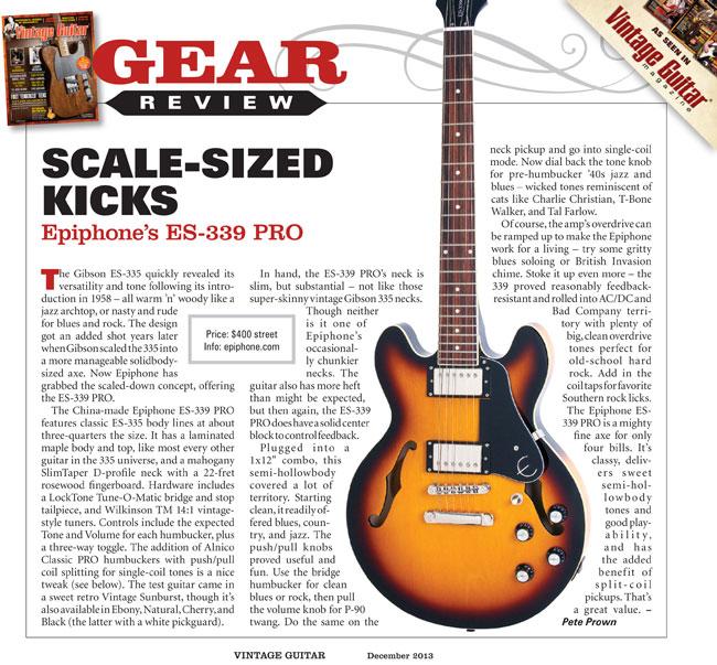 Epiphone Es 339 Pro Review : vintage guitar reviews the epiphone es 339 pro ~ Russianpoet.info Haus und Dekorationen