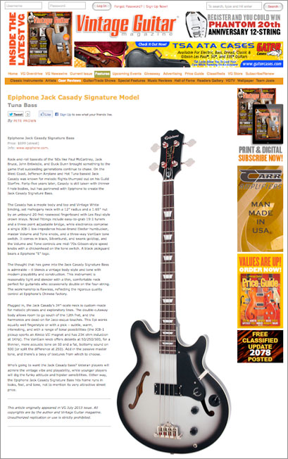Pete Prown Reviews The Jack Casady Bass For Vintage Guitar