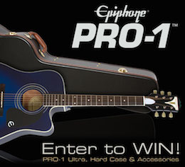 Win a new Epiphone PRO-1 Ultra Acoustic with Case and Accessory Kit!