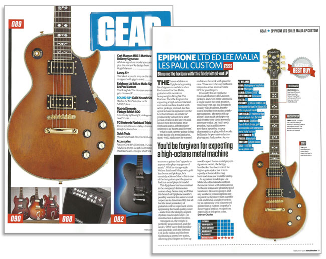 Total Guitar Gives Best Buy Award To Lee Malia Les Paul Custom!