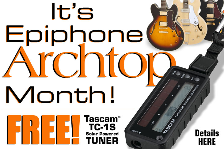 It's Archtop Month! Free Tascam® TC-1S Solar Powered Tuner Offer!