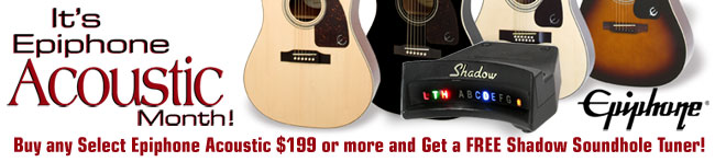 It's Epiphone Acoustic Month! Get a Free Shadow Soundhole Tuner