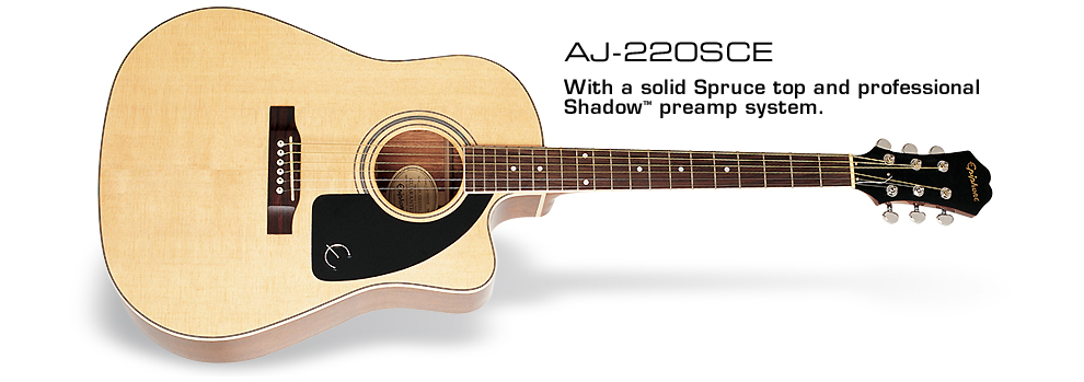 AJ-220SCE: With a solid Spruce top and professional Shadow preamp system
