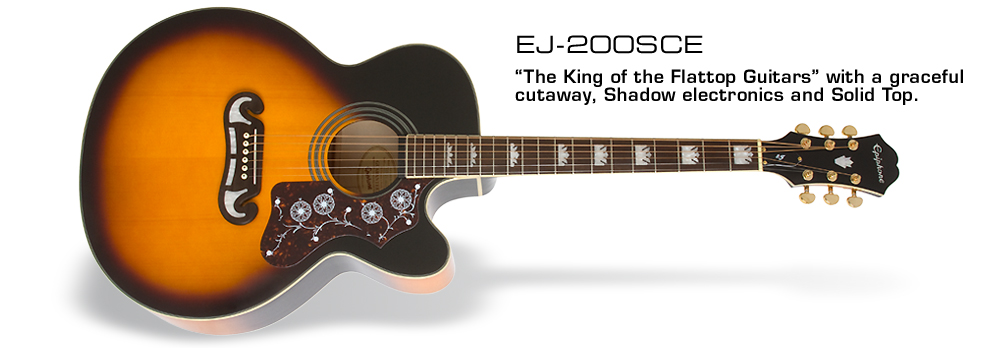 EJ-200SCE: Featuring the Shadow® eSonic-II™ Stereo Pickup System and Grover® machine heads