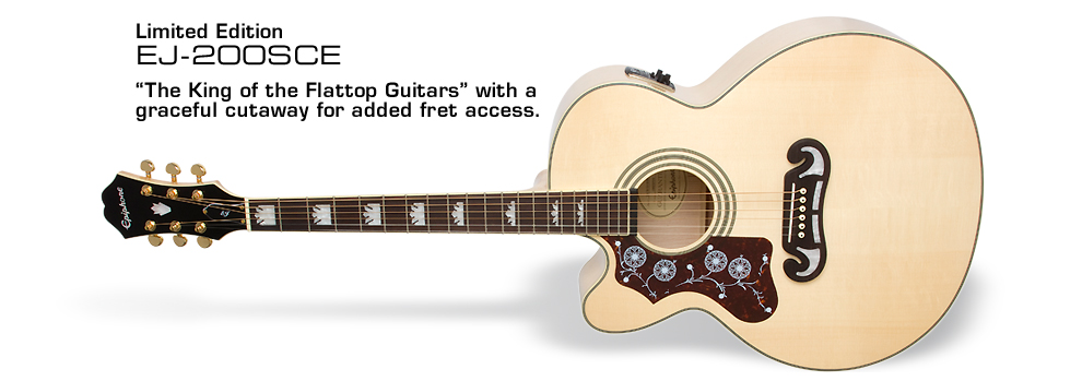 EJ-200SCE (LH): The King of the Flattop Guitars with a graceful cutaway for added fret access.