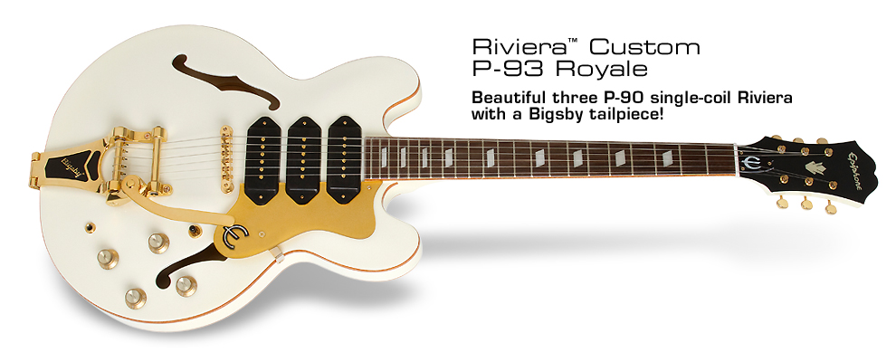 Riviera Custom P93 Royale: Beautiful three P-90 single-coil Riviera with a Bigsby tailpiece!