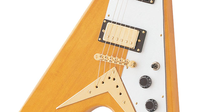 "epiphone 1958 korina flying v korina neck a 24 75"" scale and a slimtaperâ""¢ profile the rosewood fretboard has a 12"" radius a 1 68 nut and features pearloid dot inlays"