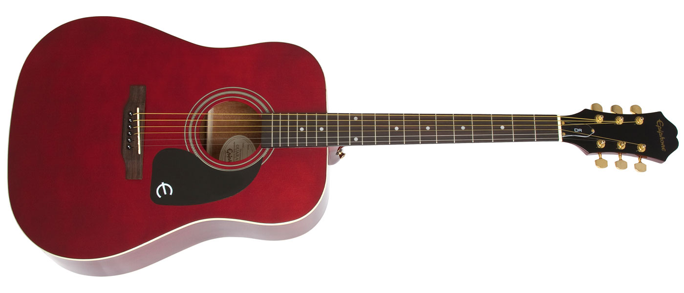 guitares acoustiques epiphone dr-100 acoustic wine red folk