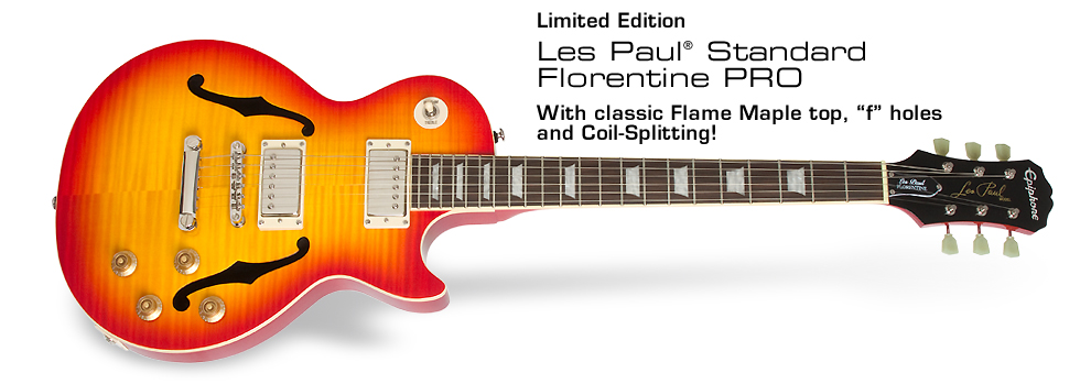 "Ltd. Ed. LP Standard Florentine PRO: With classic Flame Maple top, ""f"" holes and coil-splitting!"
