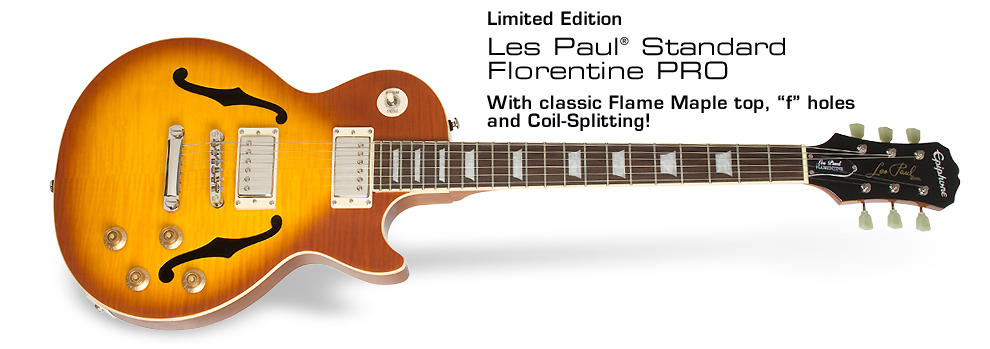 """Ltd. Ed. LP Standard Florentine PRO: With classic Flame Maple top, """"f"""" holes and coil-splitting!"""