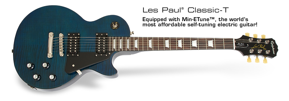 Les Paul Classic-T: Equipped with Min-ETune™, the world's most affordable self-tuning electric guitar!