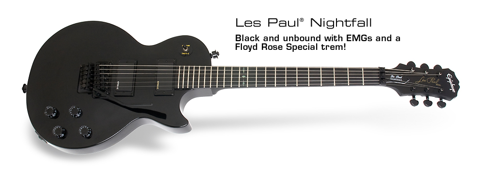 Les Paul Nightfall: Black and unbound with EMGs and a Floyd Rose Special trem!