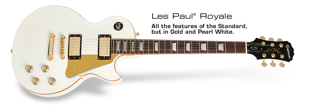 Les Paul Royale: All the features of the Standard, but in Gold and Pearl White.