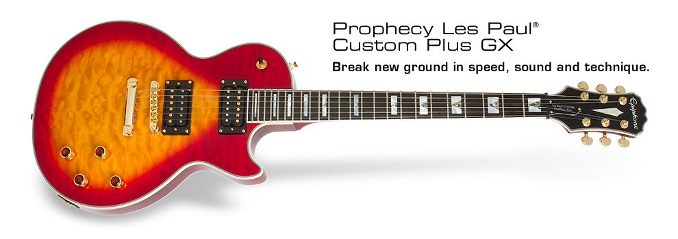 Prophecy Les Paul Custom Plus GX: Featuring Gibson USA Humbuckers with coil-splitting plus hard case