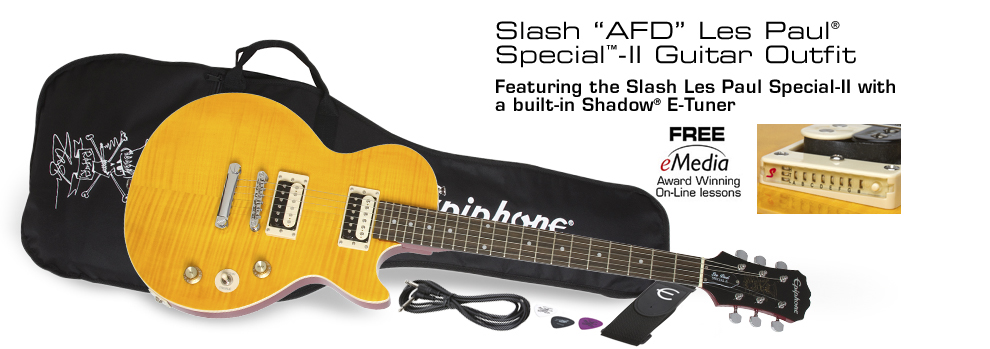 "Slash ""AFD"" Les Paul Special-II Outfit: Featuring Slash-designed ""AFD"" Les Paul Special-II guitar, gigbag, eMedia online lessons and more!"
