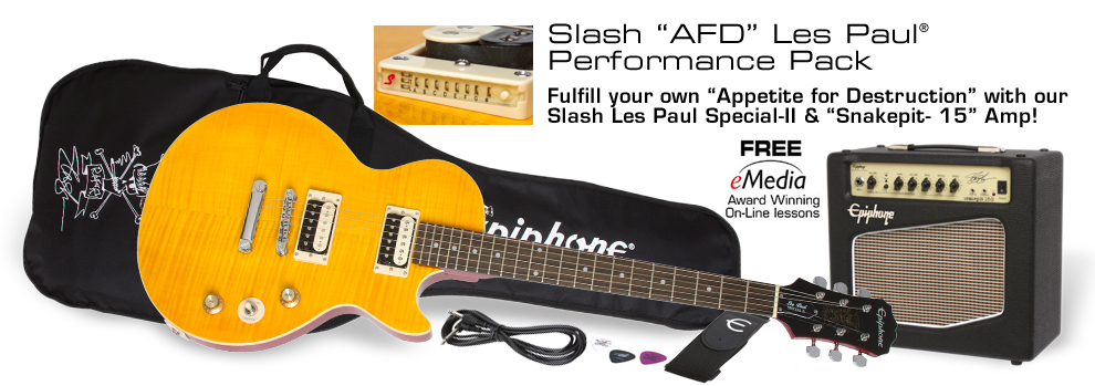 "Slash ""AFD"" Les Paul Performance Pack: Featuring Slash-designed Les Paul-II, Snakepit 15 watt Amp, and free online lessons!"